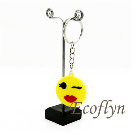 free sample in stock plastic emoji keychains bulk supply in China
