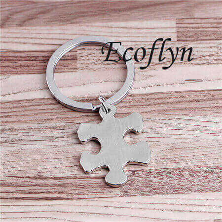 free sample in stock puzzle piece keyring jigsaw puzzle keychain in bulk low minimum wholesale China