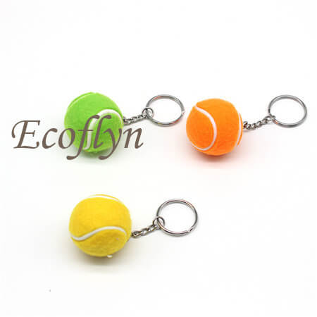 free sample tennis ball keychain in stock wholesale