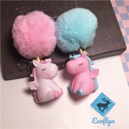 hot free sample unicorn keychains pom pom keyring bulk wholesale China