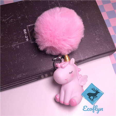 hot pink custom unicorn keychains pom pom keyring low minimum wholesale China