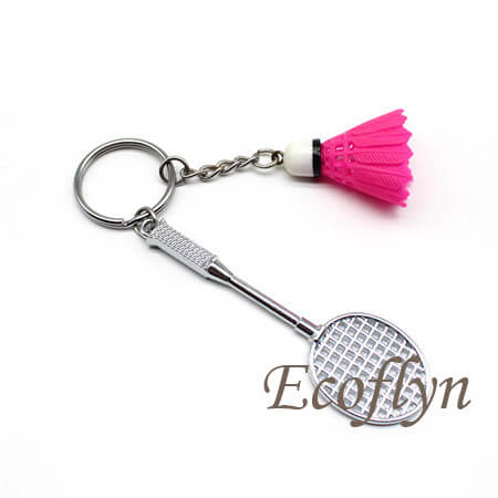 hot sale low minimum badminton keychain free sample in bulk