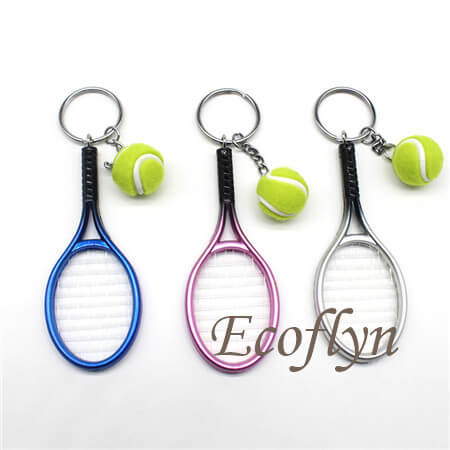 hot sale quality custom tennis keychains low minimum wholesale