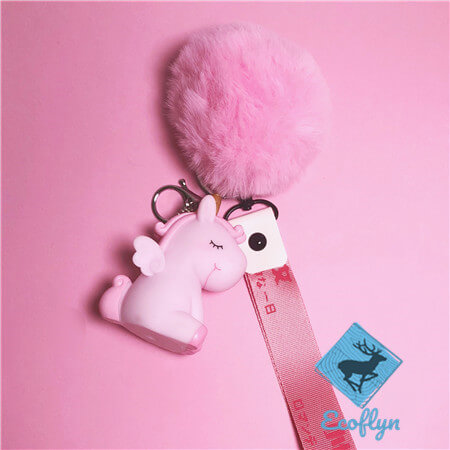 kawaii personalized unicorn keychains ribbon keychains fluffy keychain ball wholesale China