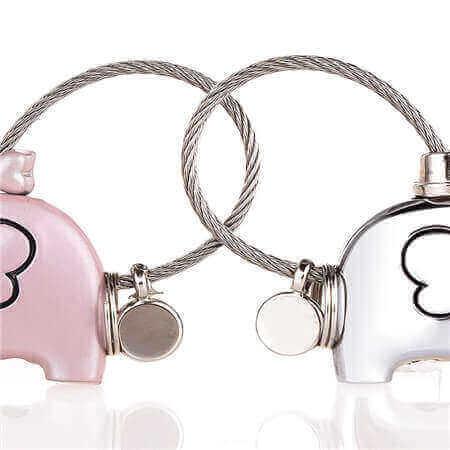 kissing elephants keychain key accessories bulk wholesale
