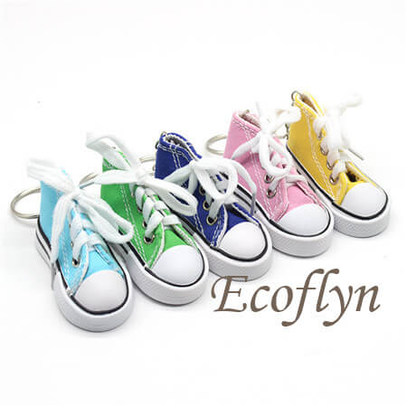 multicolor canvas sneaker keychains promotion keyrings wholesale in China