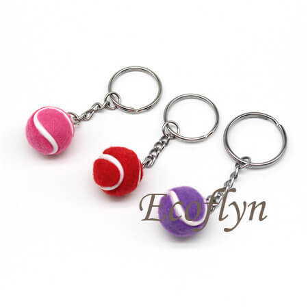 multicolor personalized tennis ball key rings promotional sports keychains in bulk wholesale China