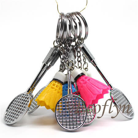 multicolor premium quality personalized badminton keychain in bulk wholesale