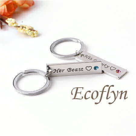 personalised love keychains couple keychains his beauty her beast keychain bulk low minimum wholesale in China