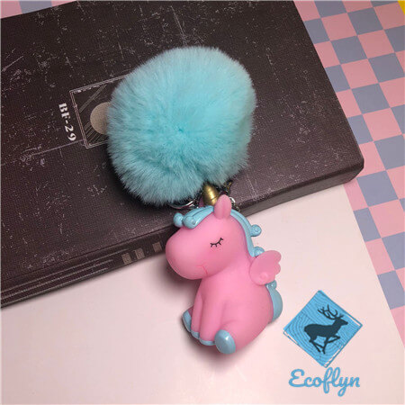 personalized fluffy keyring unicorn keychains low minimum wholesale