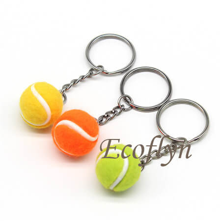 personalized sport keyrings tennis ball key rings low minimum wholesale in China