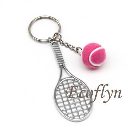pink custom personalised tennis keyrings low minimum wholesale