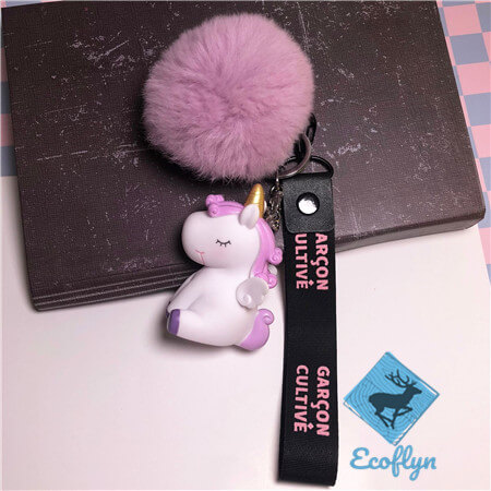 pom pom keychains unicorn keychains with riband low minimum wholesale in China