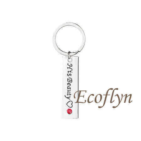premium quality engraved keychains for couples his beauty her beast keychain custom wholesale in China