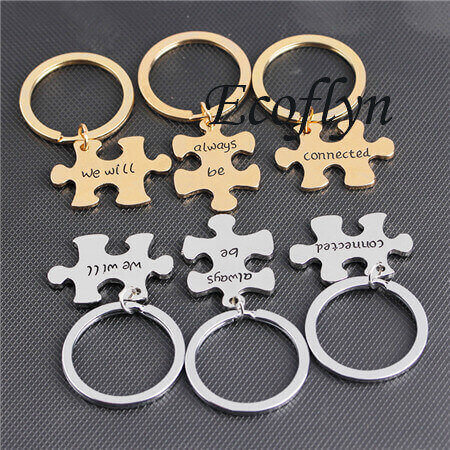 premium quality metal keychains personalized puzzle keychain jigsaw puzzle keyring in bulk wholesale low minimum supply in China