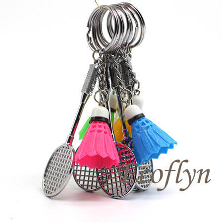 sports keychains badminton keychain free sample in stock wholesale China