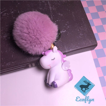 unicorn keychains fluffy keyring sample in stock low minimum wholesale