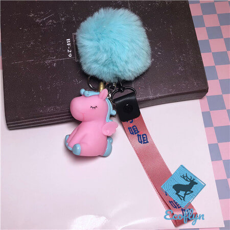 unicorn keychains pom pom keychains ribbon keychains bulk wholesale China