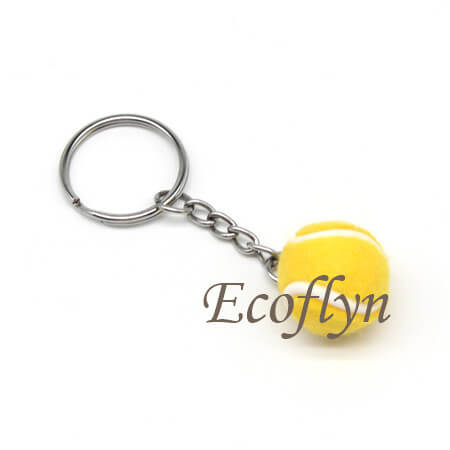 yellow custom personalized tennis ball key rings sprots keychains bulk wholesale in China