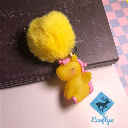 yellow personalized unicorn keychains pom pom keyring sample in stock low minimum wholesale China