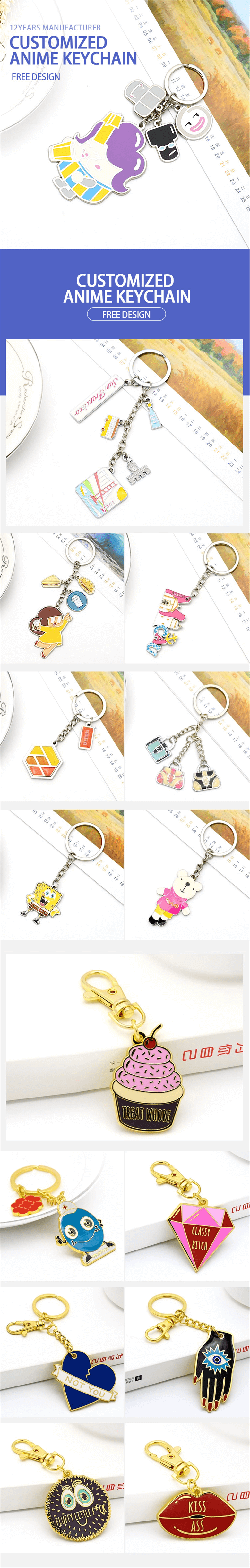 custom personalized anime keychains promotinal keyrings low MOQ wholesale